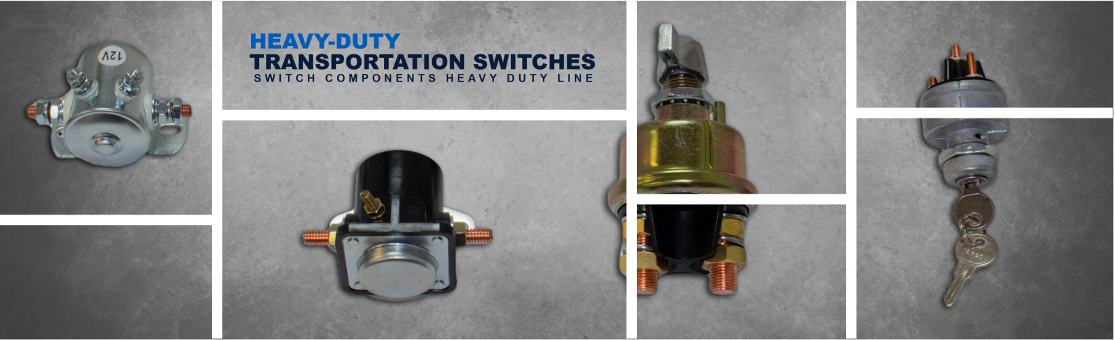Switch Components introduces its new Heavy-Duty switch line for the vehicle industry, that includes Battery Disconnects, Ignition switches and Solenoids. Our Heavy-Duty components are designed, manufactured and tested for maximum durability and reliability, even when used in the most demanding applications.    Switch Components offers Battery Disconnects designed to cut-off electrical power and help protect against electrical fires and theft when equipment is not in use, provide a reliable shutdown of power during maintenance, and prevent parasitic loads from draining the battery during inactivity. They are available with steel or diecast cases and O-rings feature in the operating shaft for additional moisture and dirt protection.  Ignition switches can be used in a variety of transportation and industrial applications ranging from run/start ignition to single-point control for lights and accessories. Switch Components offers universal components that easily replaces any other type of ignition key switch with similar mounting dimensions. Ask us if you need specialized ignition starter switch for trucks, marine, farm tractors, forklifts, excavators, snowmobiles, golf carts or lawn mowers.  Our mid current rated Solenoids are offered in continuous or intermittent duty cycles, different groundings and materials to match your application.