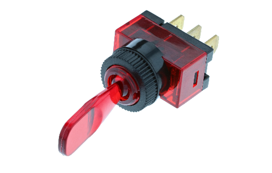 Wedge and duckbill toggles manufactured from a polycarbonate material that ensures protection against water and moisture, ideal for marine applications. Available with different handle options and LED illumination in four different colors: Red, Amber, Gre
