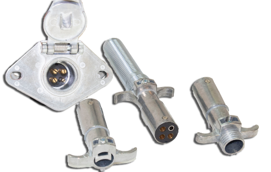 4-Pole Round connectors allow the basic hookup of the three lighting functions (running, turn, and brake lights) plus one pin for a ground wire. For automobile, truck, marine and recreational vehicle use. Manufactured using rugged diecast zinc that provid