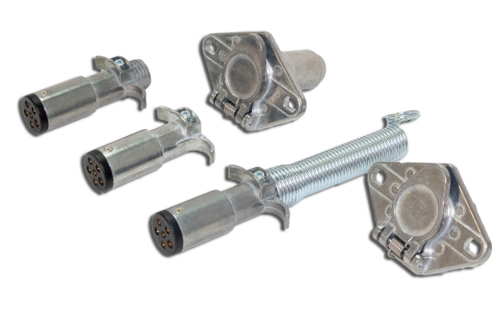 6-Pole Round connectors are popular on medium duty trailers where you want both reverse lights and electric brakes. Designed with a Die Cast housing for superior corrosion resistance and plated steel cable guard prevents cable chafing.  Two 1/4