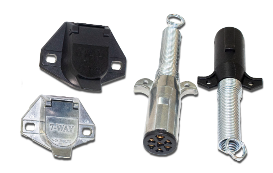 7-Pole Round connectors designed to meet the demands of heavy-duty trucks, trailers and utility vehicles. Meet or exceeds SAE J560 standards. The rugged diecast zinc housing provides superior corrosion resistance while the lightweight high-impact nylon ho