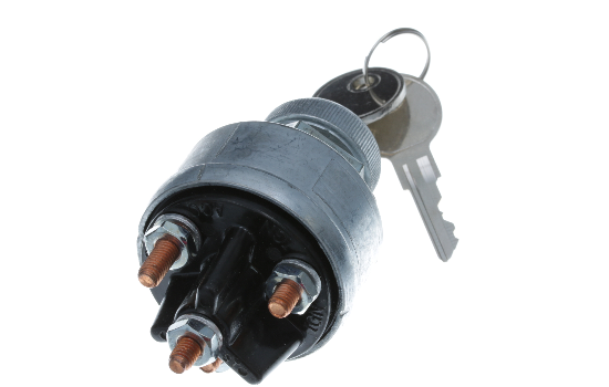"Universal 4 Position Ignition Switch; Easily replaces any other type of ignition key switch with similar mounting dimensions (Mounting Stem 7/16"" long, 3/4"" - 20 Thread). Heavy-duty zinc diecast construction to withstand harsh environments. Available with"