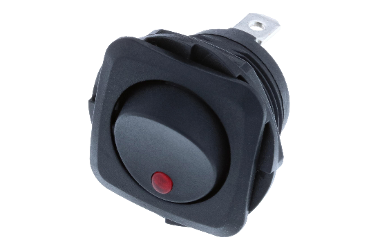 Switch Components Inc's RB Series are designed as a round hole rocker with a square face that has multiple illuminated options. Designed with dust resistant black nylon housing with back-up nut design. It is great for automotive, marine and industrial app