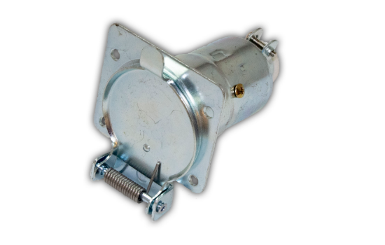 Socket made of Zinc Die Cast housing for superior corrosion resistance and brass pin terminals for best conductivity