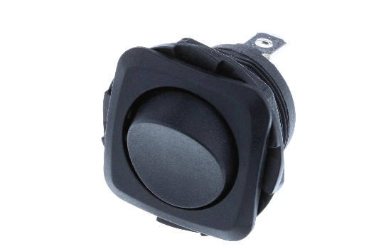 Switch Components Inc's RB Series are designed as a round hole rocker with a square face that has multiple illuminated options. Designed with dust resistant black nylon housing with back-up nut design. It is great for automotive, marine and industrial app_0