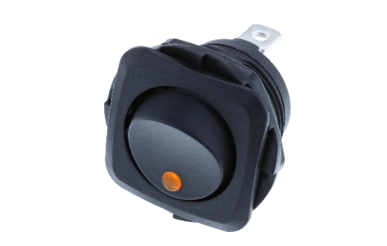 Switch Components Inc's RB Series are designed as a round hole rocker with a square face that has multiple illuminated options. Designed with dust resistant black nylon housing with back-up nut design. It is great for automotive, marine and industrial app_1