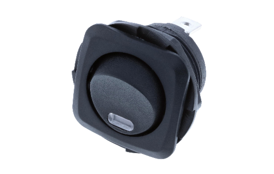 Switch Components Inc's RB Series are designed as a round hole rocker with a square face that has multiple illuminated options. Designed with dust resistant black nylon housing with back-up nut design. It is great for automotive, marine and industrial app_2
