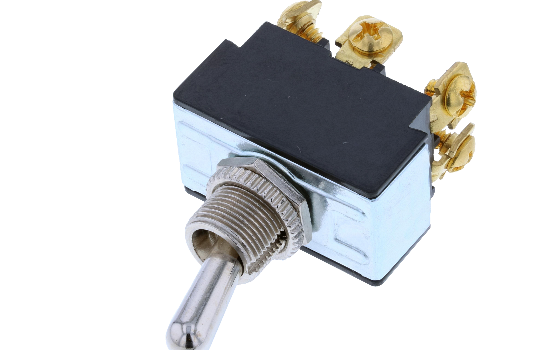 TB toggles can be used in a variety of applications including automotive, marine, commercial or industrial equipment. These switches are available in a wide range of momentary and maintained double pole circuits and terminations. They fit the industry sta_0